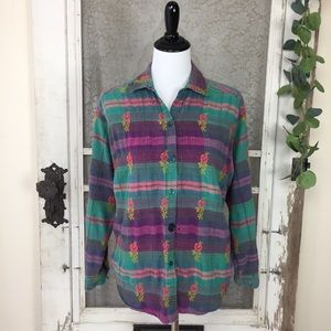 Vintage Button Front Plaid Embroidered Top L (LL9)